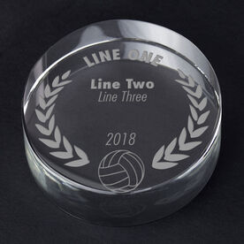 Volleyball Personalized Engraved Crystal Gift - Custom Laurel Wreath