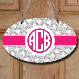 Cheerleading Oval Sign Monogram with Megaphone Pattern