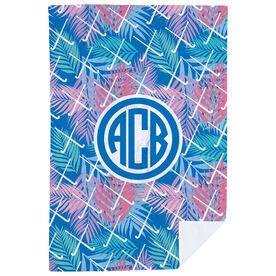 Field Hockey Premium Blanket - Tropical Palm Monogram