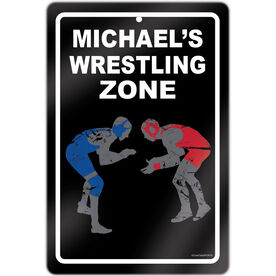 "Wrestling 18"" X 12"" Aluminum Room Sign Personalized Wrestling Zone"