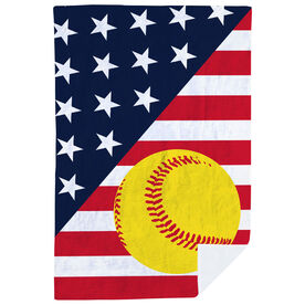 Softball Premium Blanket - Softball USA Flag