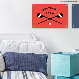 "Crew 18"" X 12"" Aluminum Room Sign - Personalized Crossed Oars"