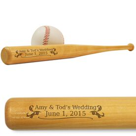 Wedding Date Mini Engraved Baseball Bat