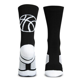 Basketball Woven Mid-Calf Socks - Ball Silhouette (Black/White)