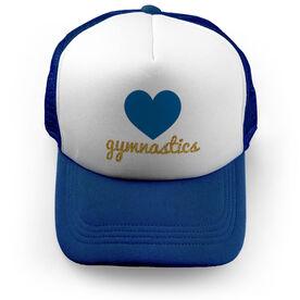 Gymnastics Trucker Hat Heart with Gold Glitter