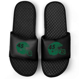 Football Black Slide Sandals - Helmet Number