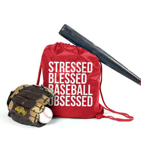 Baseball Sport Pack Cinch Sack - Stressed Blessed Baseball Obsessed
