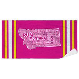 Running Premium Beach Towel - Montana State Runner