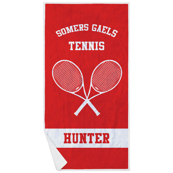 Tennis Premium Beach Towel - Personalized Team with Crossed Rackets