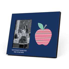 Personalized Photo Frame - Teacher Striped Apple