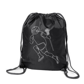 Guys Lacrosse Sport Pack Cinch Sack - Guys Lacrosse Player Sketch