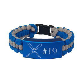 Crossed Baseball Bats Paracord Engraved Bracelet - Crossed Baseball Bats With 1 Line/Blue