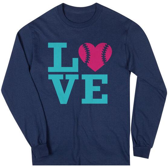 Softball T-Shirt Long Sleeve Love