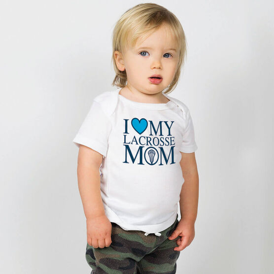 Guys Lacrosse Baby T-Shirt - I Love My Lacrosse Mom