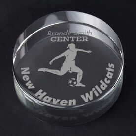 Soccer Personalized Engraved Crystal Gift - Player Silhouette with Custom Text (Female)
