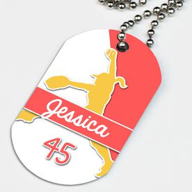 Softball Printed Dog Tag Necklace Personalized Softball Pitcher Name and Number