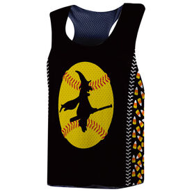 Softball Racerback Pinnie - Witch Riding Softball Bat