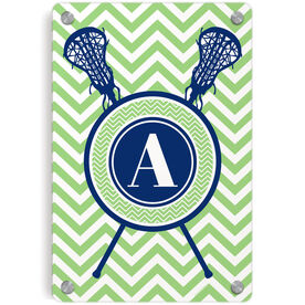 Girls Lacrosse Metal Wall Art Panel - Single Letter Monogram with Crossed Sticks and Chevron