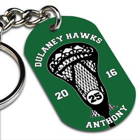 Lacrosse Printed Dog Tag Keychain Custom Team Stick Head