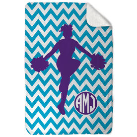 Cheerleading Sherpa Fleece Blanket - Chevron Monogram