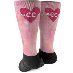 Cross Country Printed Mid-Calf Socks - Watercolor Heart Arrow