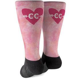 Cross Country Printed Mid-Calf Socks - Watercolor Heart Arrow