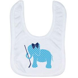 Hockey Baby Bib - Hockey Elephant with Bow