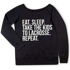 Lacrosse Fleece Wide Neck Sweatshirt - Eat Sleep Take The Kids To Lacrosse