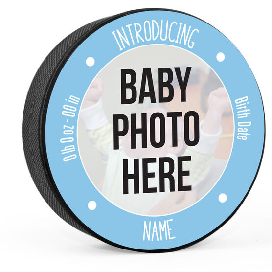 Personalized Hockey Puck - Baby Boy Introduction