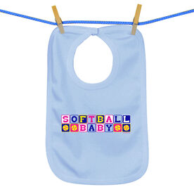 Softball Baby Bib Softball Baby Blocks