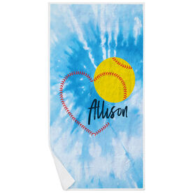 Softball Premium Beach Towel - Heart with Personalization Tie-Dye