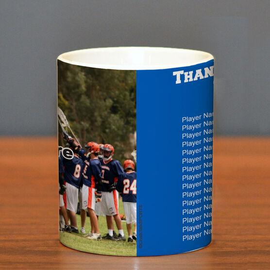 Lacrosse Coffee Mug Thanks Coach Custom Photo With Team Roster
