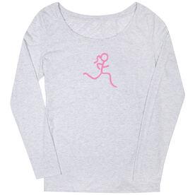 Women's Runner Scoop Neck Long Sleeve Tee Run Girl Stick Figure Pink