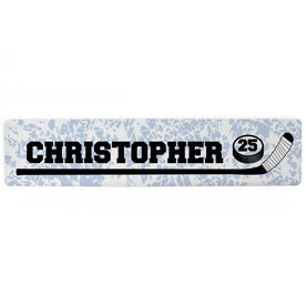"Hockey Aluminum Room Sign - Personalized Hockey Stick With Number (4""x18"")"