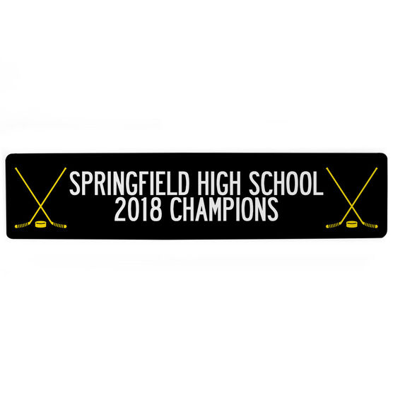 "Hockey Aluminum Room Sign - Team Your Text With Crossed Sticks (4""x18"")"