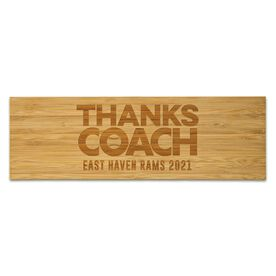 "Softball 12.5"" X 4"" Engraved Bamboo Removable Wall Tile - Thanks Coach"