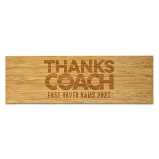 """Softball 12.5"""" X 4"""" Engraved Bamboo Removable Wall Tile - Thanks Coach"""
