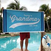 Personalized Premium Beach Towel - Rocking Being A Grandma