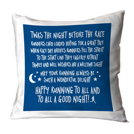Running Throw Pillow - Twas The Night Before The Race (Simple)