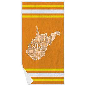 Running Premium Beach Towel - West Virginia State Runner