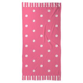 Softball Beach Towel Polka Dots