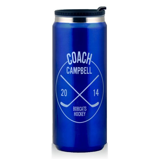 Stainless Steel Travel Mug Personalized Hockey Coach Circle