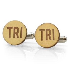Triathlon Engraved Wood Cufflinks Tri