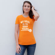 Girls Lacrosse Women's Everyday Tee - My Goal Is To Deny Yours Goalie Stick