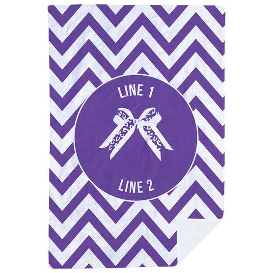 Cheerleading Premium Blanket - Personalized Bow with Chevron