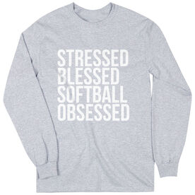 Softball Long Sleeve Tee - Stressed Blessed Softball Obsessed