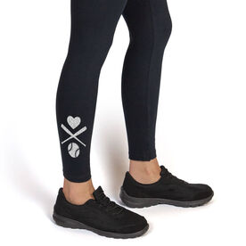 Baseball Leggings Heart Crossed Baseball Bats
