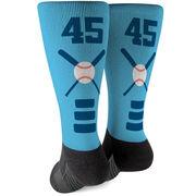 Baseball Printed Mid-Calf Socks - Bats Team Colors
