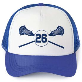 Guys Lacrosse Trucker Hat Personalized Guys Sticks Number