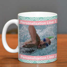 Swimming Coffee Mug Custom Photo with Pattern